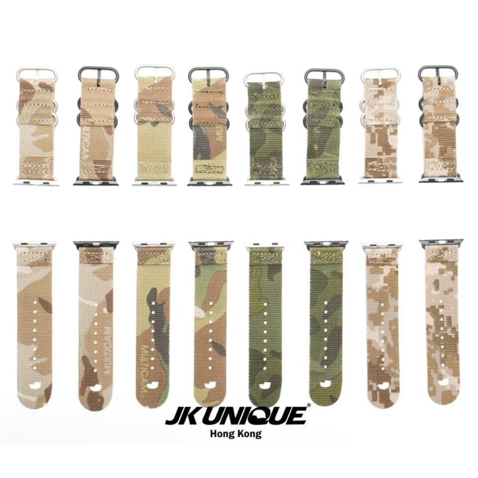 JK UNIQUE CAMO Nylon NATO Style Apple Watch Strap 42mm - ピン外し済