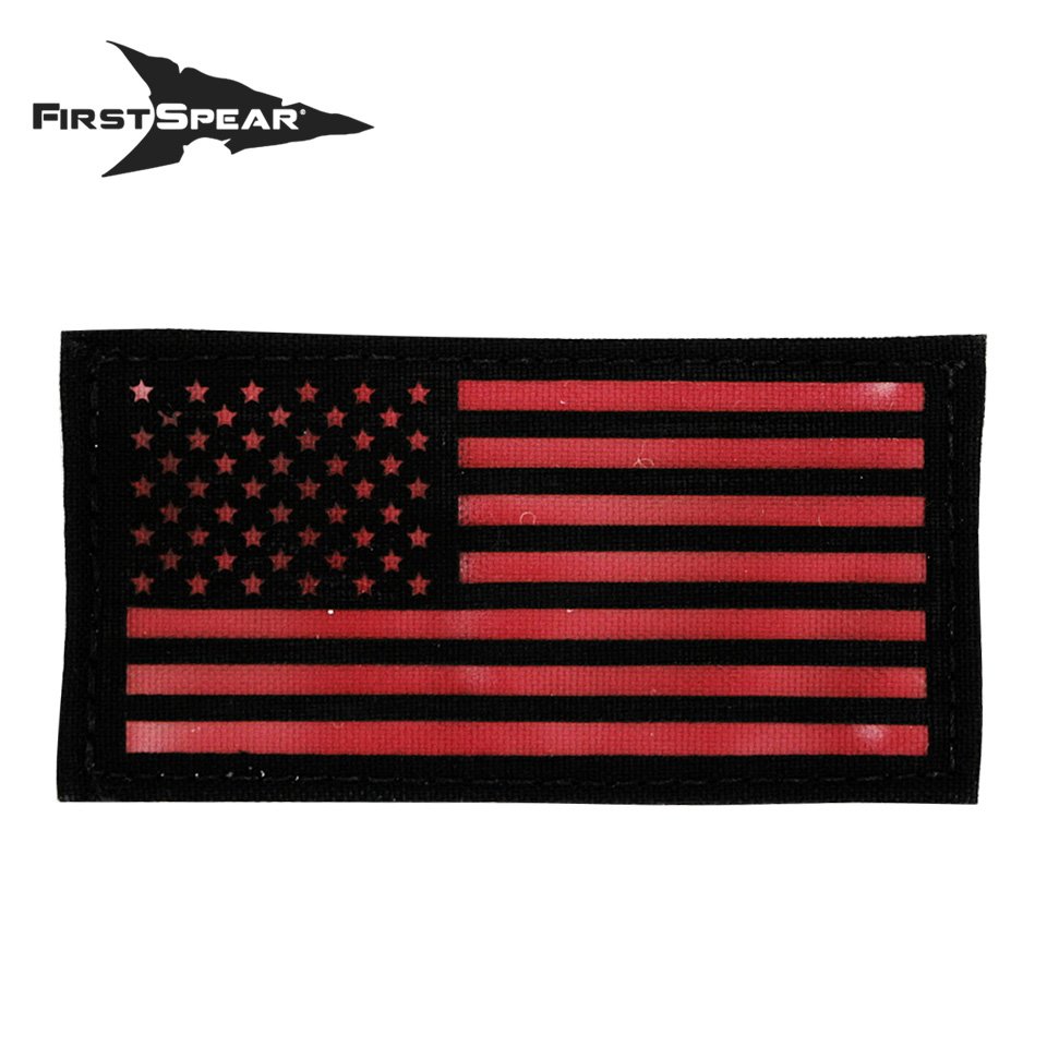 "Cell Tag IFF Patch 2.x4"" American Flag Standard - Letter Color Red"