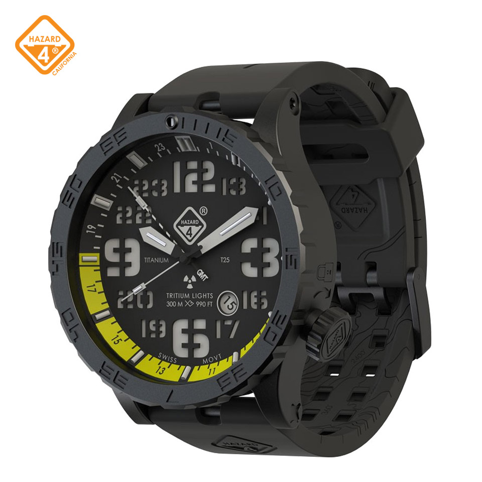 HWD Nightwatch - Yellow GMT green hours & hands, yellow noon, green bezel