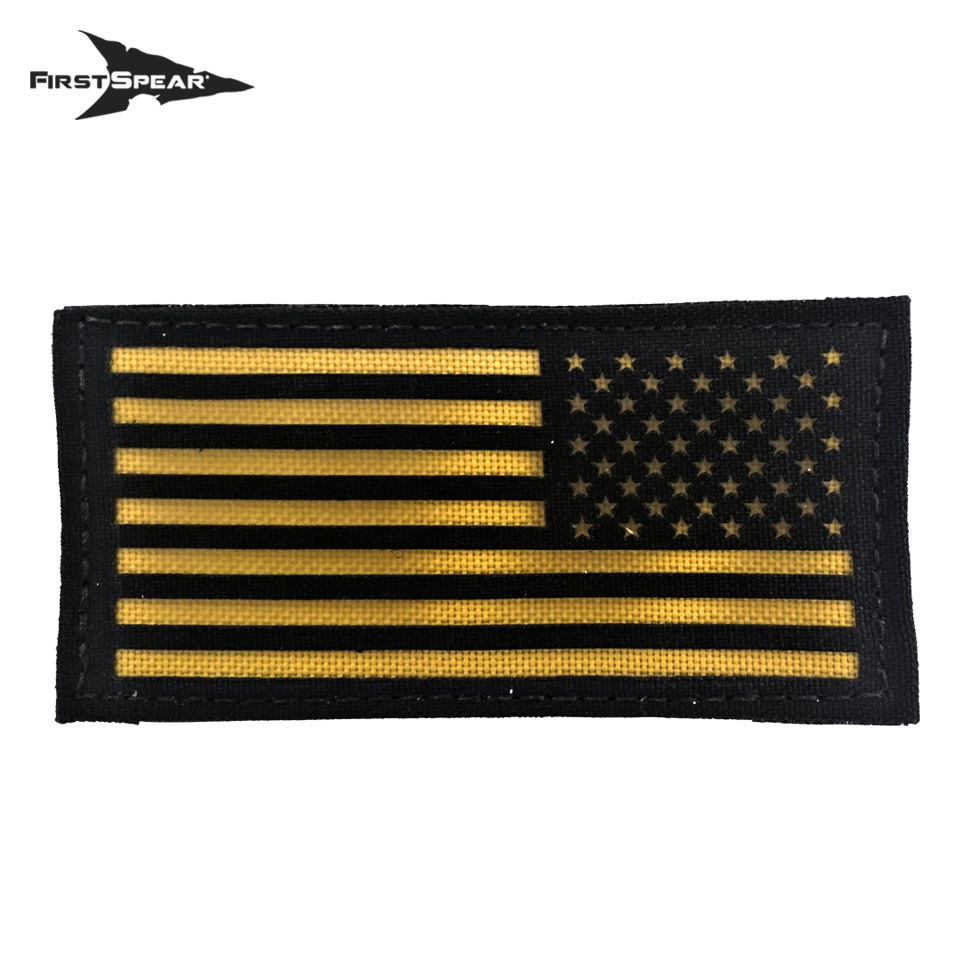 Cell Tag IFF Patch 2×4 American Flag Reverse - Letter Color Yellow